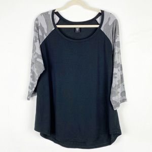 Camo Black Gray Torrid Baseball Tee Plus 2X